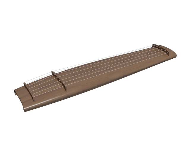 Seven-string Chinese musical instrument 3d rendering