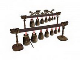 Ancient Chinese musical instrument Bianzhong 3d preview