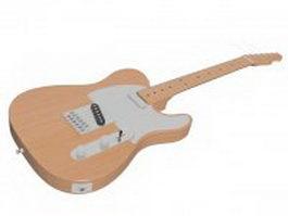 Semi-acoustic electric guitar 3d model preview