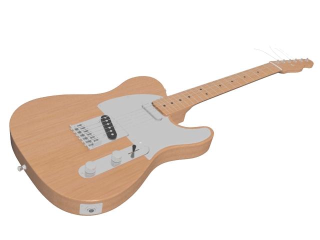 Semi-acoustic electric guitar 3d rendering
