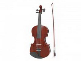 Viola with bow 3d model preview