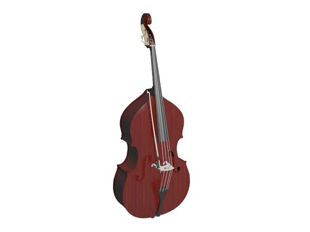 Bass violin 3d rendering