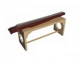 Guqin on the stand 3d preview