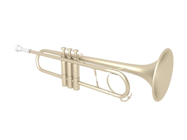 Modern trumpet 3d rendering