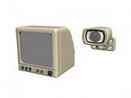 Vintage security monitor and camera 3d preview