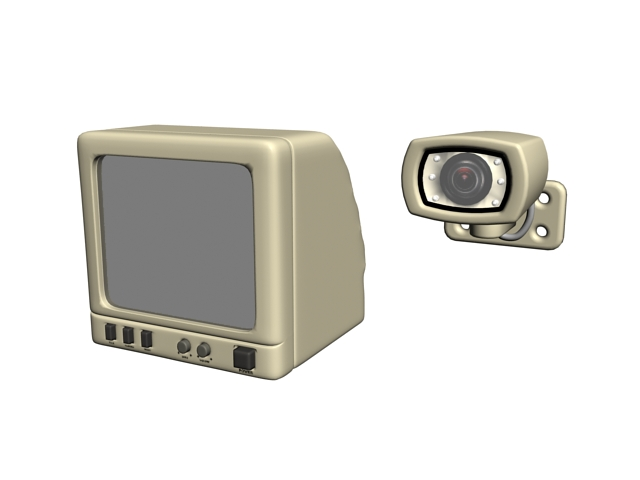 Vintage security monitor and camera 3d rendering