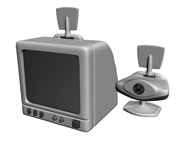 Early webcam and security monitor 3d rendering