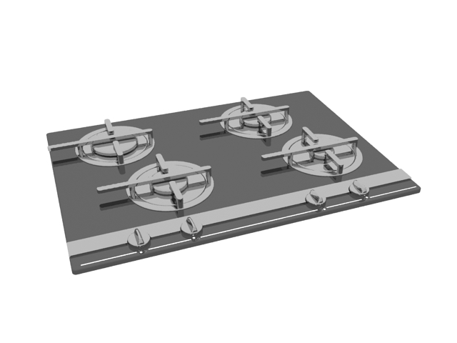 Built-in gas cooktop 3d rendering