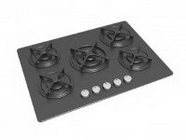 Stainless steel gas cooktop 3d model preview