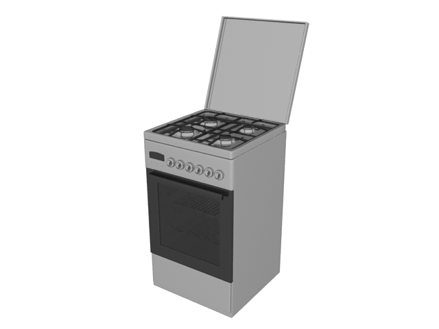 Gas stove and oven 3d rendering