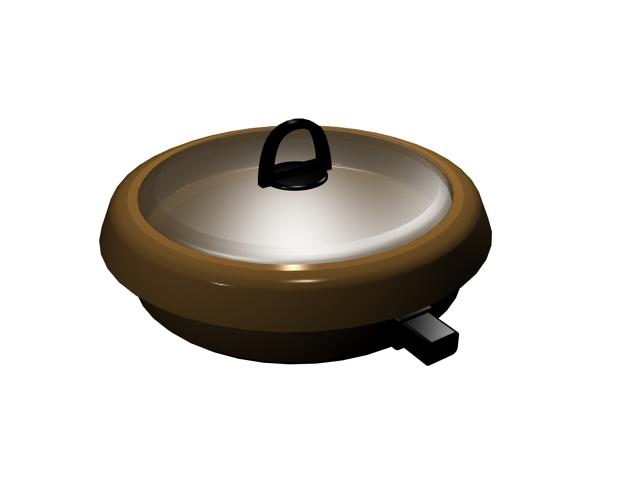 Covered saucepan 3d rendering