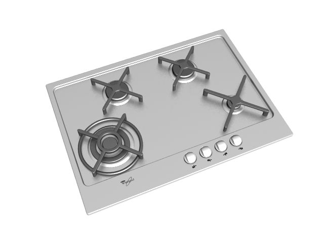 Gas stove counter top 3d rendering