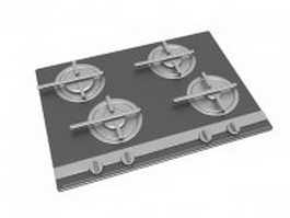 Stainless steel gas cooktop 3d preview