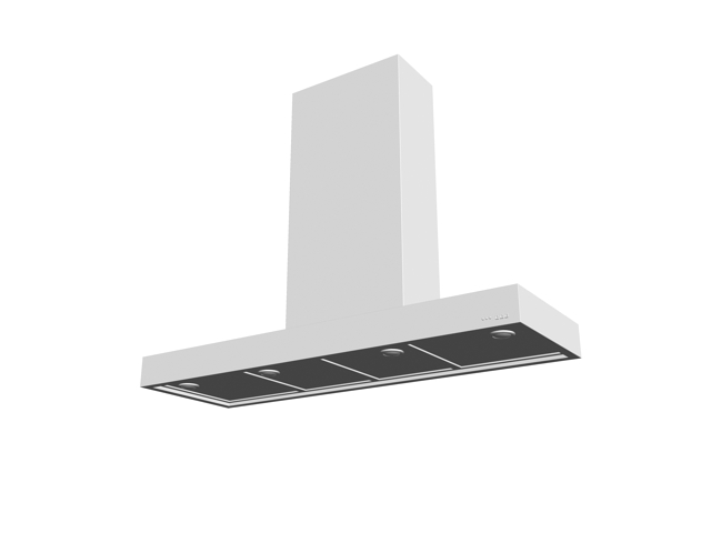 Commercial kitchen ventilation hood 3d rendering