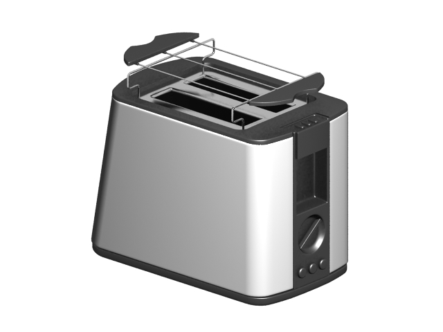 Breakfast collection toaster 3d rendering
