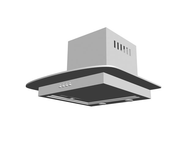 Kitchen ventilation hood 3d rendering