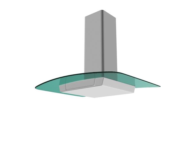 Tempered glass range hood 3d rendering