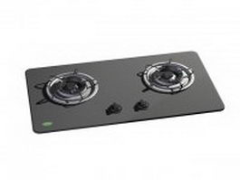 2 burner stainless steel gas cooktop 3d preview