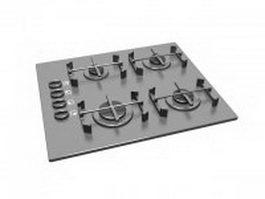 Cast iron gas cooktop 3d preview