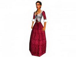 Medieval dressed woman 3d preview