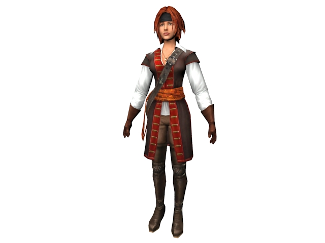 Age of pirates character Beatrice 3d rendering