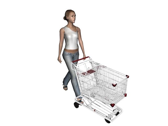 Shopping cart woman 3d rendering