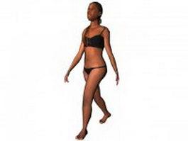 Bikini middle aged woman 3d model preview