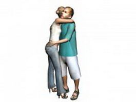 Man and woman embrace 3d preview