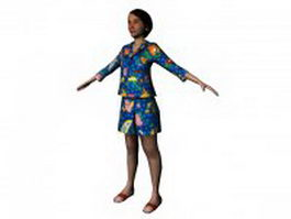 Woman standing in blue clothes 3d model preview