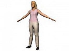 Blonde elderly woman 3d model preview