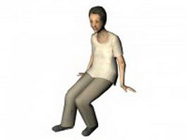 Senior woman sitting on bench pose 3d model preview
