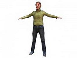 European senior woman standing 3d model preview