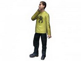 Man standing with hand under chin 3d model preview