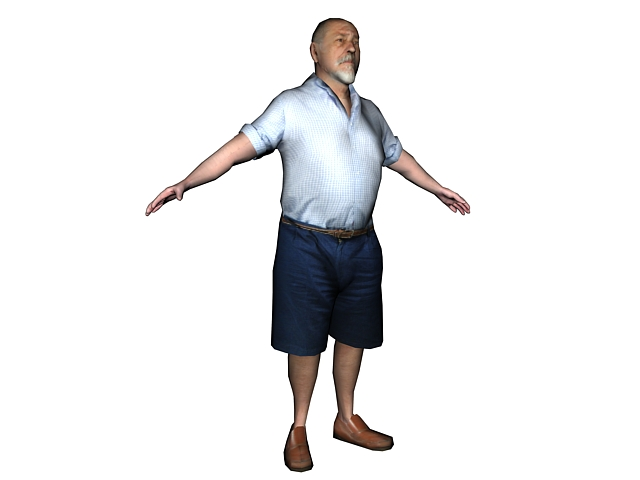 Fat Old Man In Shirt 3D Model 3Ds Max Files Free Download -3930