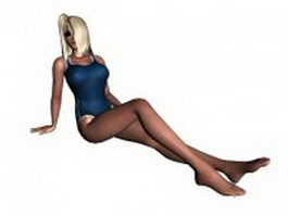 Young woman in swimsuit 3d model preview