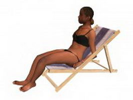 Bikini woman lying on deck chair 3d preview
