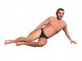 Swimwear man lying on beach 3d model preview