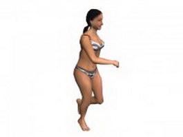 Running woman in swimwear 3d model preview