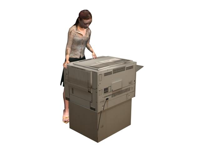 Office woman use copier 3d rendering