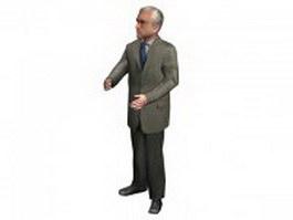 Senior business man 3d model preview