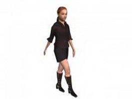 Fashion office woman 3d model preview