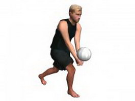 Young man playing volleyball 3d model preview