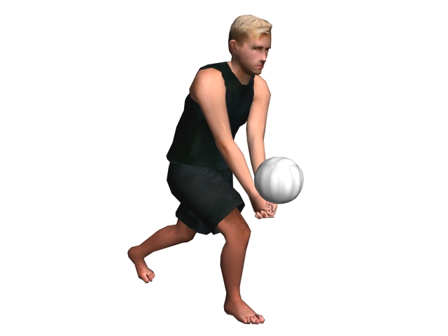 Young man playing volleyball 3d rendering