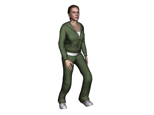 Beautiful sportswoman 3d rendering