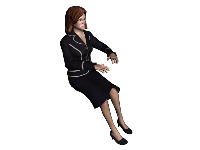 Working lady using computer 3d rendering