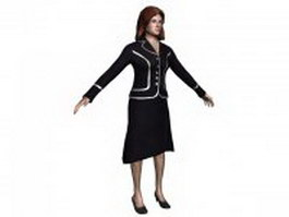 Office lady standing with T-pose 3d preview