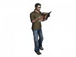 Man standing reading magazine 3d model preview