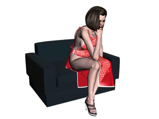 Sexy woman thinking on sofa 3d rendering