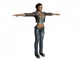 Tough woman cop standing T-pose 3d model preview