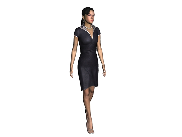 Sexy lady in deep V minidress 3d rendering